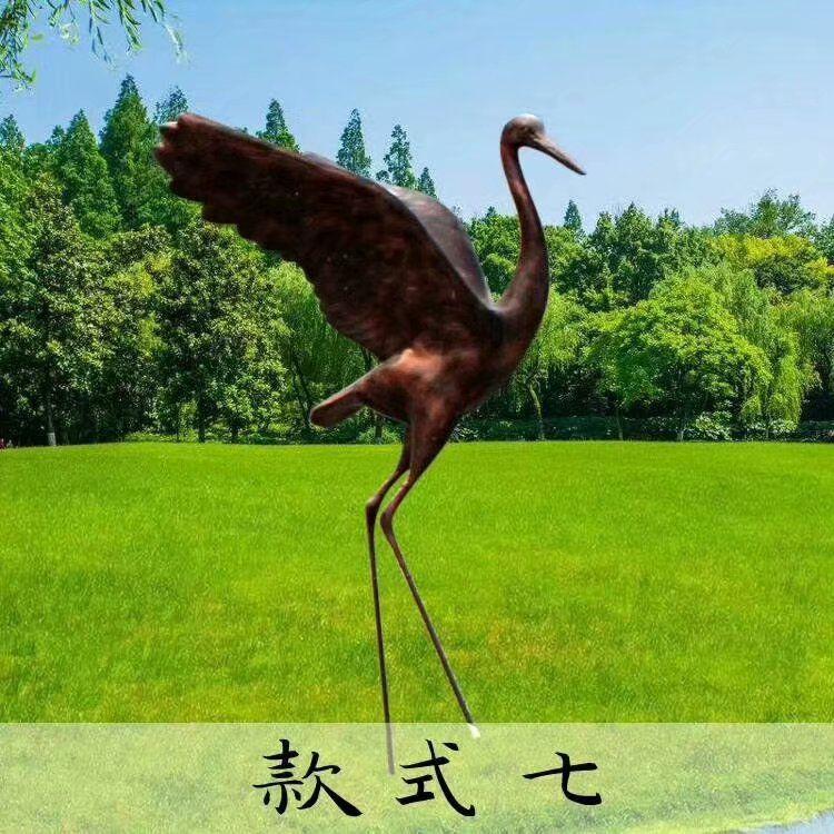 玻璃钢仿铜仙鹤雕塑
